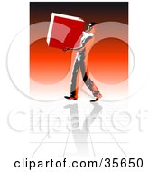 Clipart Illustration Of A Strong Delivery Man Carrying A Heavy Box Over A Reflective Floor