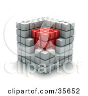 Clipart Illustration Of White Cubic Walls Around A Red Core In A Puzzle Cube by Tonis Pan #COLLC35652-0042