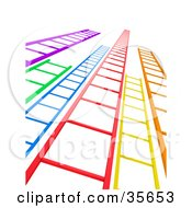 Clipart Illustration Of Colorful Ladders Leading Upwards by Tonis Pan