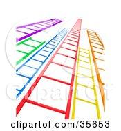 Colorful Ladders Leading Upwards