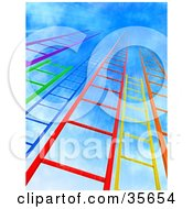 Clipart Illustration Of Colorful Purple Green Blue Red Yellow And Orange Ladders Leading Upwards Into A Bursting Blue Sky