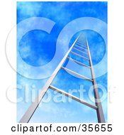 Clipart Illustration Of A Metal Ladder Leading Upwards Into A Blue Sky With Light Clouds
