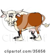 Clipart Illustration Of A Happy Brown White And Beige Cow With Udders And Horns by Dennis Holmes Designs