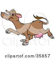 Clipart Illustration Of A Happy Brown Cow With Pink Udders Walking In Profile To The Left