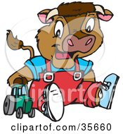Clipart Illustration Of A Cute Young Calf With Horns Wearing Clothes And Plying With A Toy Tractor