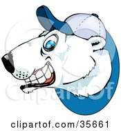 Grinning Polar Bear Wearing A Baseball Hat