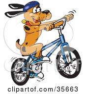 Clipart Illustration Of An Athletic And Healthy Brown Dog With Black Spots Wearing Shoes And A Helmet And Riding A Bike by Dennis Holmes Designs