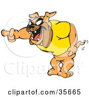 Clipart Illustration Of A Bossy Bulldog In A Yellow Shirt Yelling And Pointing Left by Dennis Holmes Designs