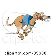 Clipart Illustration Of An Energetic And Fast Greyhound Dog In A Shirt Running With His Tongue Hanging Out During A Race