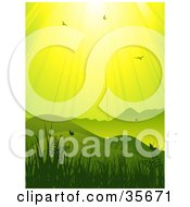 Clipart Illustration Of A Vertical Green And Yellow Background Of Sunlight Shining Down On Birds And Butterflies In A Hilly Grassy Landscape by elaineitalia
