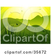 Clipart Illustration Of A Horizontal Green And Yellow Background Of Sunlight Shining Down On Birds And Butterflies In A Hilly Grassy Landscape by elaineitalia