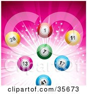 Clipart Illustration Of Colorful Bingo Or Lottery Balls Over A Sparkling And Bursting Pink Background by elaineitalia