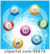 Clipart Illustration Of Colorful Bingo Or Lottery Balls Over A Sparkling And Swirling Blue Background by elaineitalia
