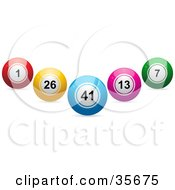 Clipart Illustration Of Blue Red Yellow Pink And Green Lottery Or Bingo Balls In The Shape Of A V by elaineitalia