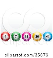Clipart Illustration Of A Row Of Red Green Pink Yellow And Blue Bingo Or Lottery Balls by elaineitalia