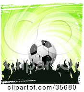 Clipart Illustration Of A Silhouetted Crowd Of Soccer Fans Over A Swirling Green Background With White Grunge And A Soccer Ball