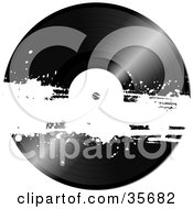 Clipart Illustration Of A Black Vinyl Record With A White Grunge Bar Across It by elaineitalia #COLLC35682-0046