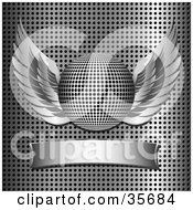 Clipart Illustration Of A Winged Chrome Disco Ball Over A Blank Banner On A Grid Background
