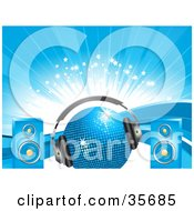 Clipart Illustration Of A Blue Disco Ball With Headphones And Speakers Over A Background Of Waves Sparkles And Bursts