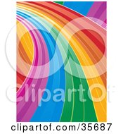 Clipart Illustration Of A Curving Rainbow Road Leading To The Left by elaineitalia