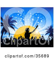 Clipart Illustration Of A Silhouetted Crowd On The Dance Floor Below A Dj In Front Of A Golden Disco Ball On A Blue Bursting Background With Palm Trees