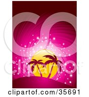 Clipart Illustration Of Two Pink Silhouetted Palm Trees On A Hill In Front Of A Sparkling Yellow Sun On A Swirling Pink Background by elaineitalia