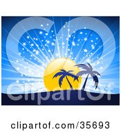 Clipart Illustration Of Two Silhouetted Palm Trees On A Hill In Front Of A Sparkling Sunset In A Blue Sky by elaineitalia