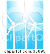 Clipart Illustration Of Bright Sunlight Shining Down On Three Wind Turbines Against A Blue Sky by elaineitalia