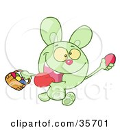 Clipart Illustration Of A Green Bunny Running And Holding Up An Egg And Carrying A Basket During An Easter Egg Hunt
