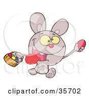 Clipart Illustration Of A Purple Bunny Running And Holding Up An Egg And Carrying A Basket During An Easter Egg Hunt