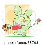 Clipart Illustration Of A Hyper Green Bunny Rabbit With Its Tongue Hanging Out Running And Holding Up An Egg And Carrying A Basket During An Easter Egg Hunt