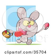 Clipart Illustration Of A Hyper Purple Bunny Rabbit With Its Tongue Hanging Out Running And Holding Up An Egg And Carrying A Basket During An Easter Egg Hunt