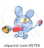 Clipart Illustration Of A Blue Bunny Running And Holding Up An Egg And Carrying A Basket During An Easter Egg Hunt
