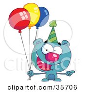 Clipart Illustration Of A Blue Birthday Bear In A Party Hat Pointing To The Right And Holding Colorful Party Balloons
