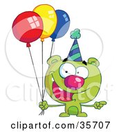 Clipart Illustration Of A Green Birthday Bear In A Party Hat Pointing To The Right And Holding Colorful Party Balloons