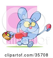 Clipart Illustration Of A Hyper Blue Bunny Rabbit With Its Tongue Hanging Out Running And Holding Up An Egg And Carrying A Basket During An Easter Egg Hunt