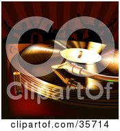 Clipart Illustration Of Golden And Red Light Shining On A Vinyl Record Spinning On A Turntable People Dancing In The Background by dero