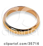 Clipart Illustration Of A Golden Wedding Band Ring With A Shadow