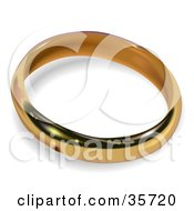 Golden Wedding Or Engagement Band Ring With A Shadow