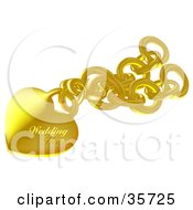Clipart Illustration Of A Golden Wedding Heart Pendant On A Chain by dero