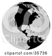 Clipart Illustration Of A Gray And Black Globe Featuring North America by dero