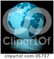 Clipart Illustration Of A Blue Grid Globe On A Black Background With A Reflection by dero