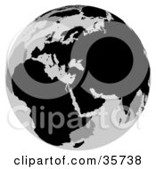 Clipart Illustration Of A Gray And Black Globe Featuring Europe by dero
