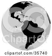Clipart Illustration Of A Gray And Black Globe Featuring The North And South American Continents by dero