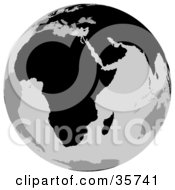 Clipart Illustration Of A Gray And Black Globe Featuring The African Continent