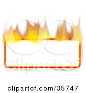 Flaming Blank Rectangle Text Box Or Sign