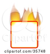 Flaming Blank Square Text Box Or Sign