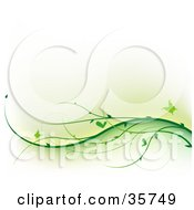 Clipart Illustration Of Butterflies Fluttering Over Waves Of Green Vines by dero