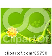 Clipart Illustration Of A Green Spring Background With Rolling Hills Grasses And A Large Orange Flower by dero