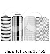 Clipart Illustration Of A Block Of Black And White Skyscrapers In A City by dero